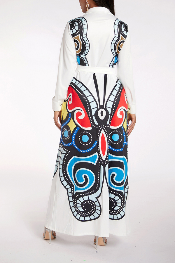 Lovely Casual Print White Maxi Dress