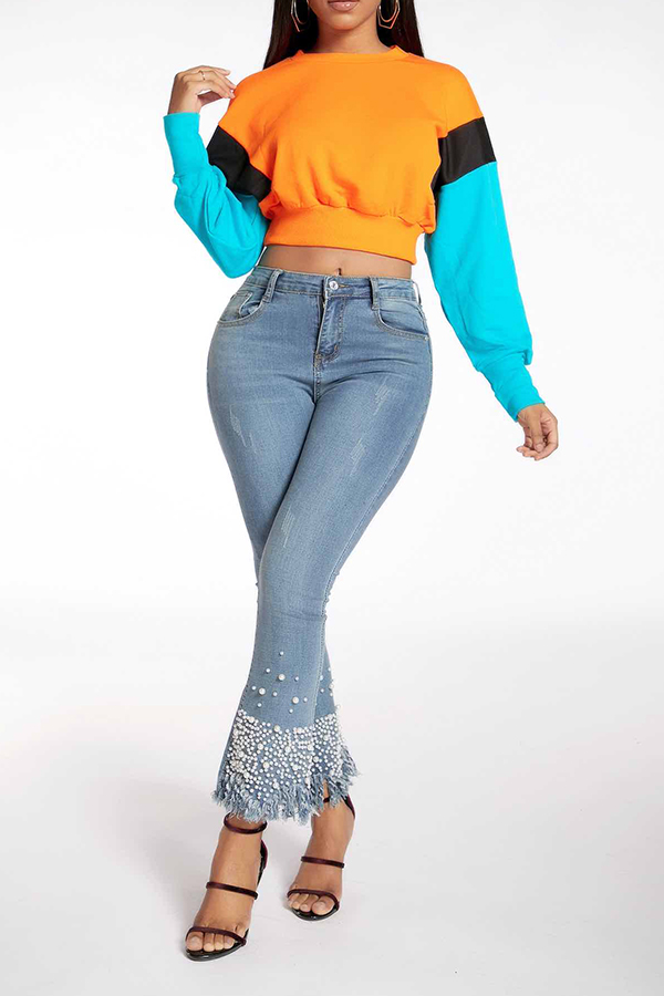 Lovely Casual Color-lump Patchwork Multicolor Sweatshirt Hoodie