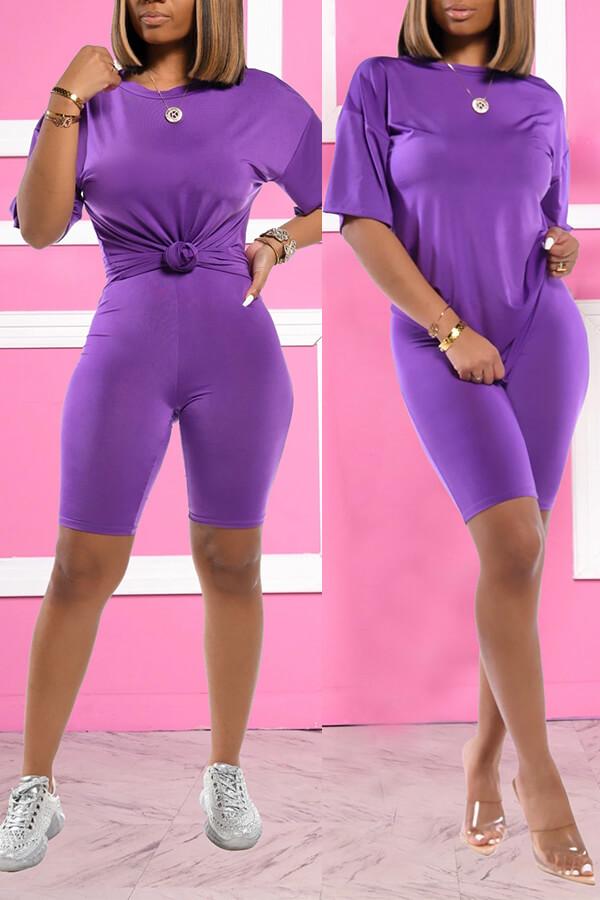 Lovely Trendy Basic Purple Two-piece Shorts Set фото