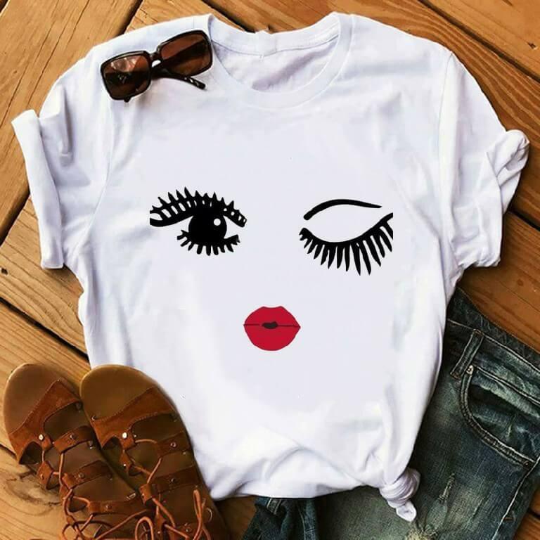 Lovely Casual Eye  Print White Plus Size T-shirt