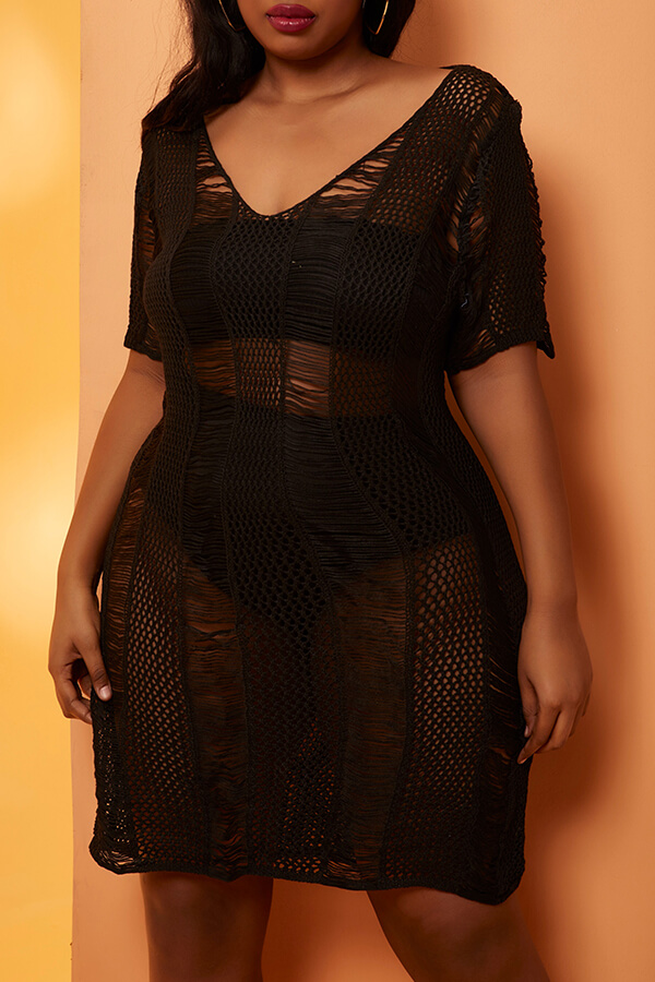 Lovely Sexy V Neck Lace-up Black Plus Size Cover-up(With Lining