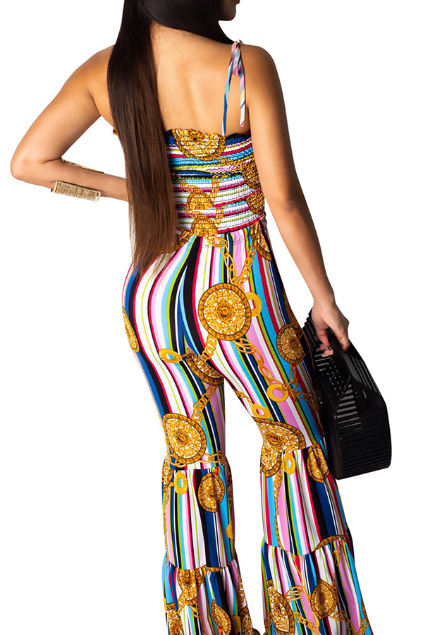 Lovely Bohemian Striped Print Blue One-piece Jumpsuit