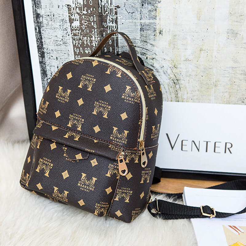 lovelywholesale / Lovely Trendy Print Brown Backpack