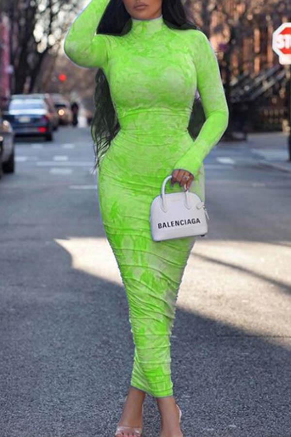 Lovely Stylish Basic Skinny Green Ankle Length Dress
