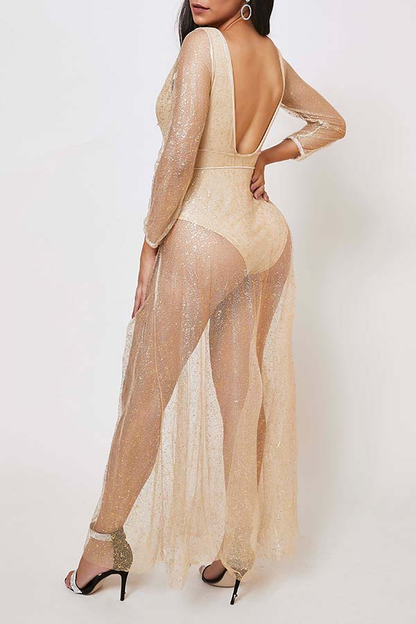 Lovely Casual See-through Gold Ankle Length Dress