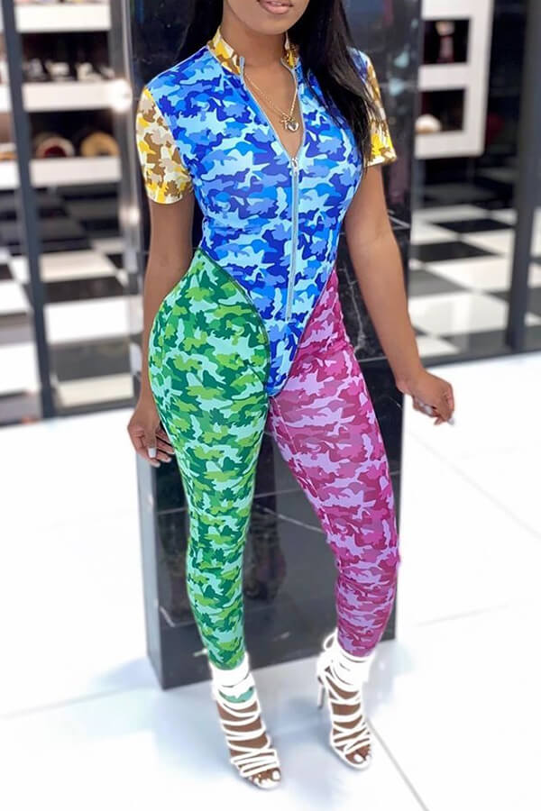 Lovely Casual Patchwork Multicolor One-piece Jumpsuit