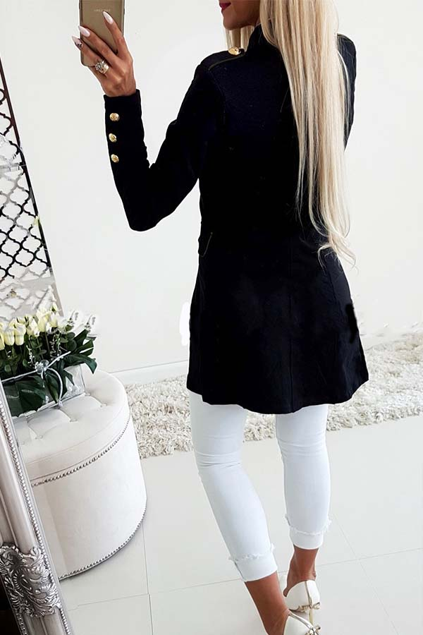 Lovely Casual Buttons Design Black Coat