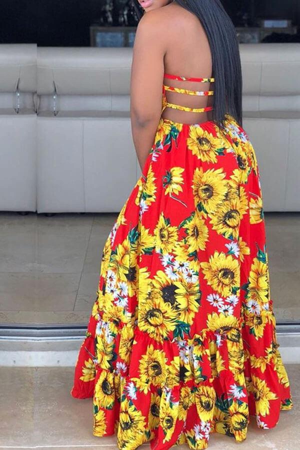 Lovely Bohemian Sunflower Print Red Maxi Dress