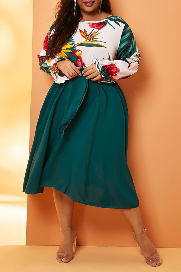 Lovely Bohemian Print Green Knee Length Plus Size Dress
