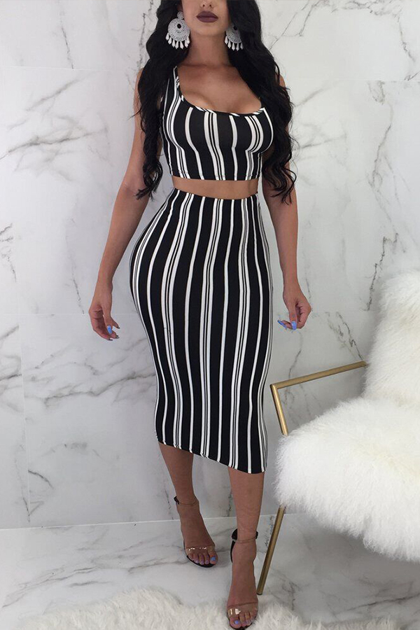 Lovely Trendy Striped Black Two-piece Skirt Set