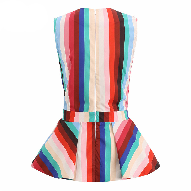 Lovely Stylish Rainbow Striped Multicolor Blouse