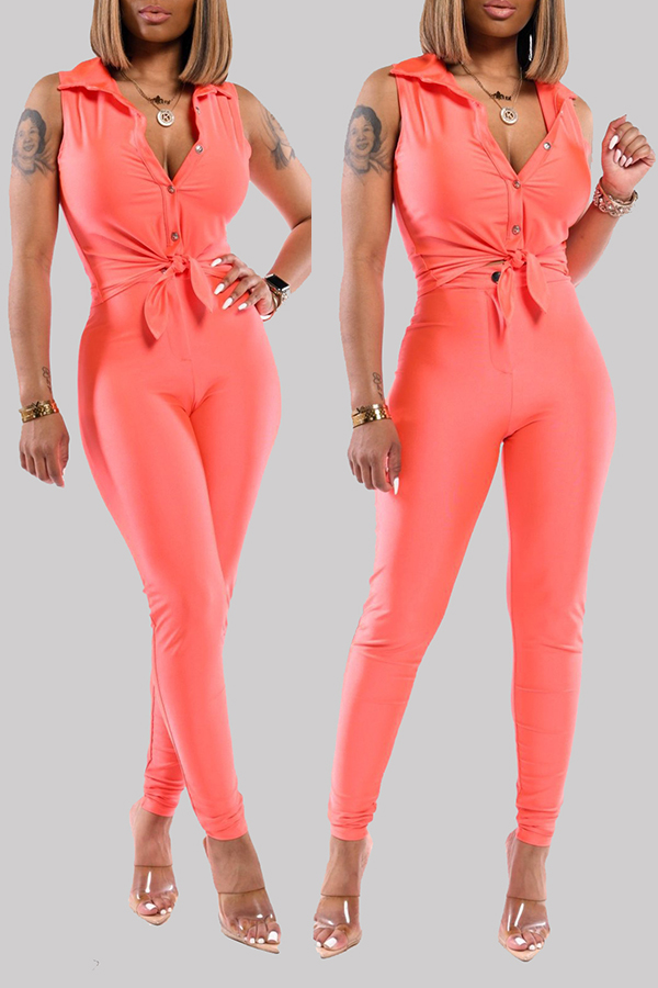 Lovely Casual Buttons Design Jacinth Two-piece Pants Set