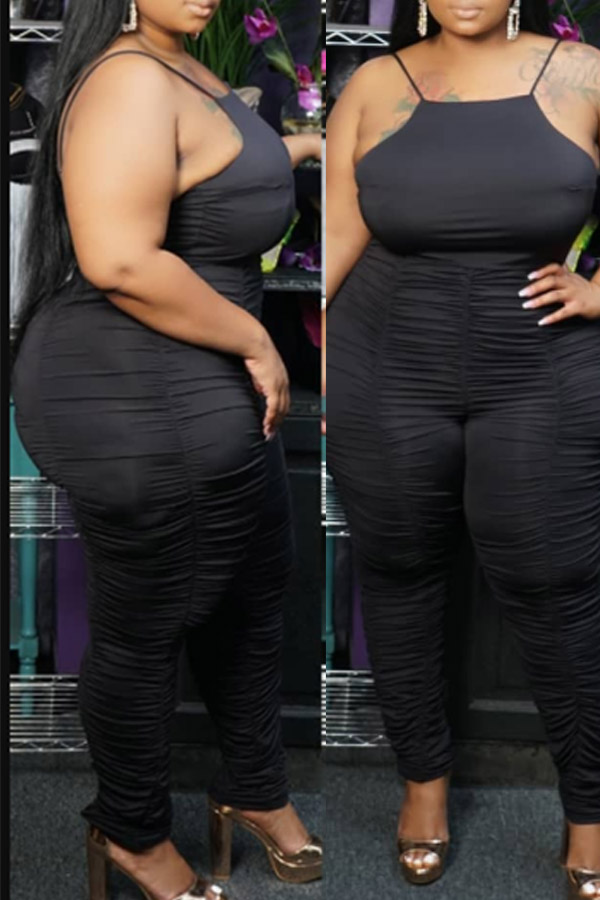 Lovely Sexy Fold Design Black Plus Size Two-piece Pants Set
