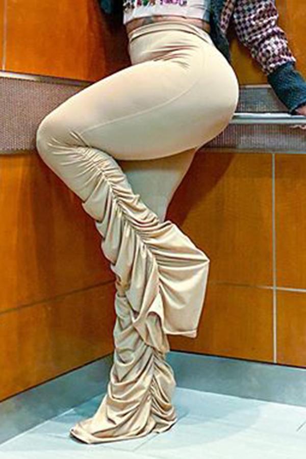 Lovely Stylish Fold Design Brown Pants
