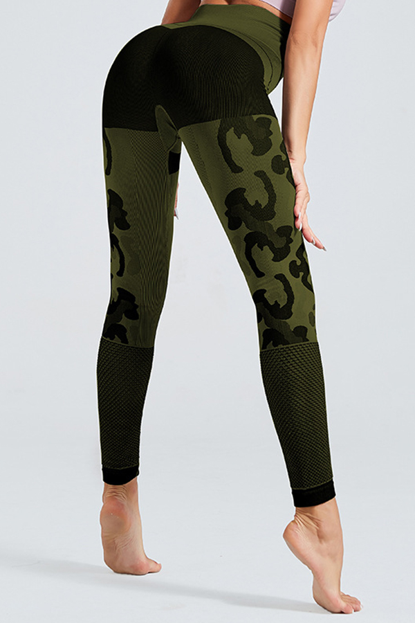 Lovely Sportswear Patchwork Army Green Leggings