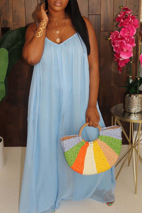 Lovely Leisure Loose Blue One-piece Jumpsuit