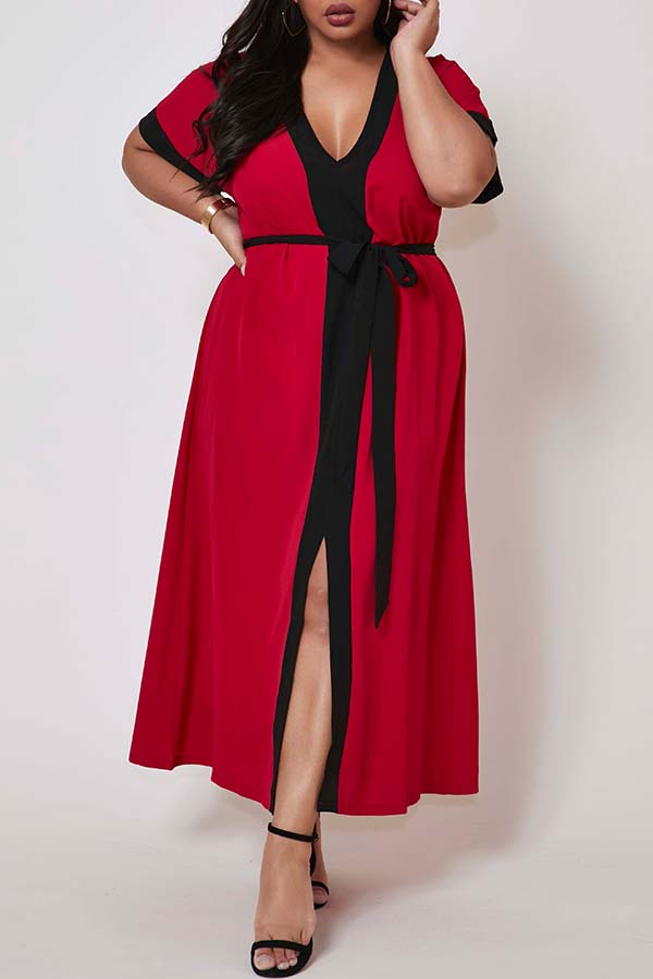 Lovely Casual Patchwork Red Ankle Length Plus Size Dress