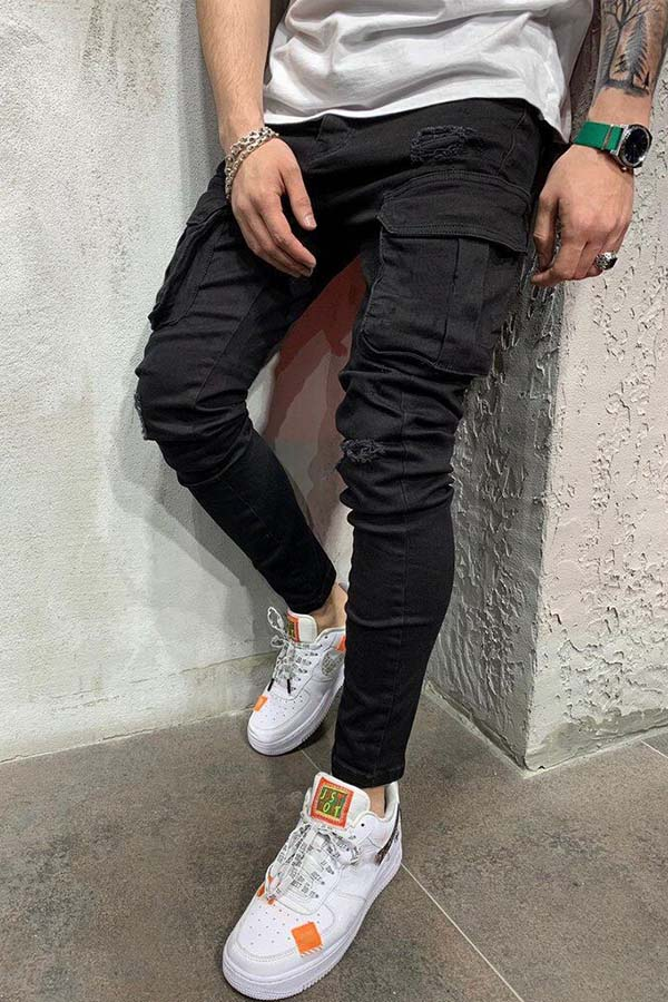 Lovely Casual Pocket Patched Black Jeans