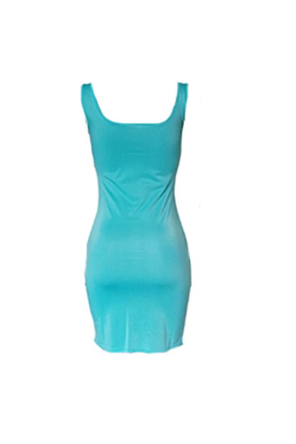 Lovely Casual Lip Print Baby Blue Mini Dress