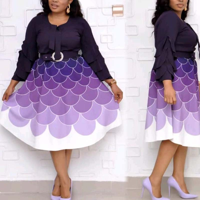 Lovely Casual Patchwork Purple Mid Calf Plus Size Dress