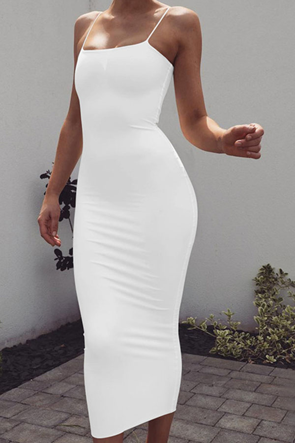 Lovely Leisure Basic Skinny White Ankle Length Dress