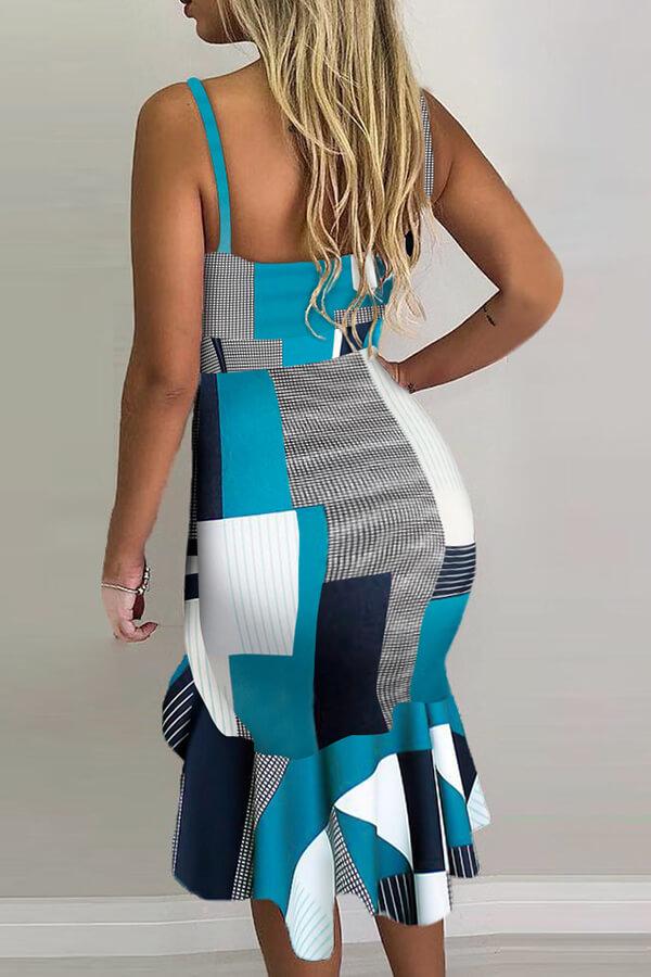 Lovely Trendy V Neck Print Blue Knee Length Dress