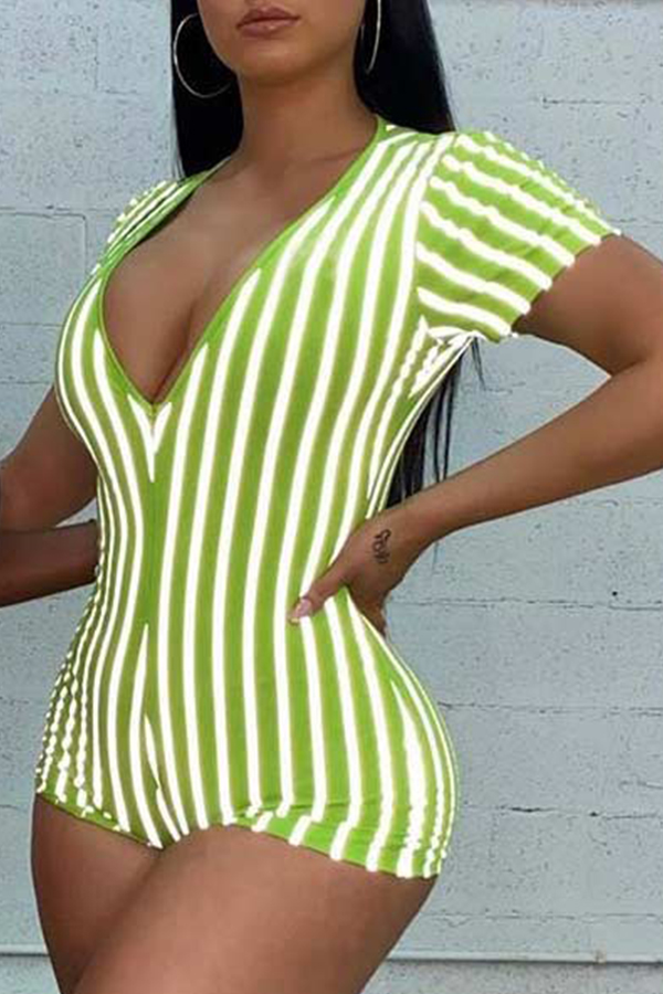Lovely Casual Striped Green One-piece Romper