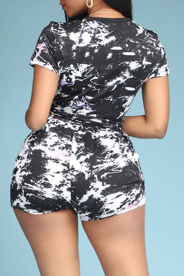 Lovely Sportswear Print Black Two-piece Shorts Set