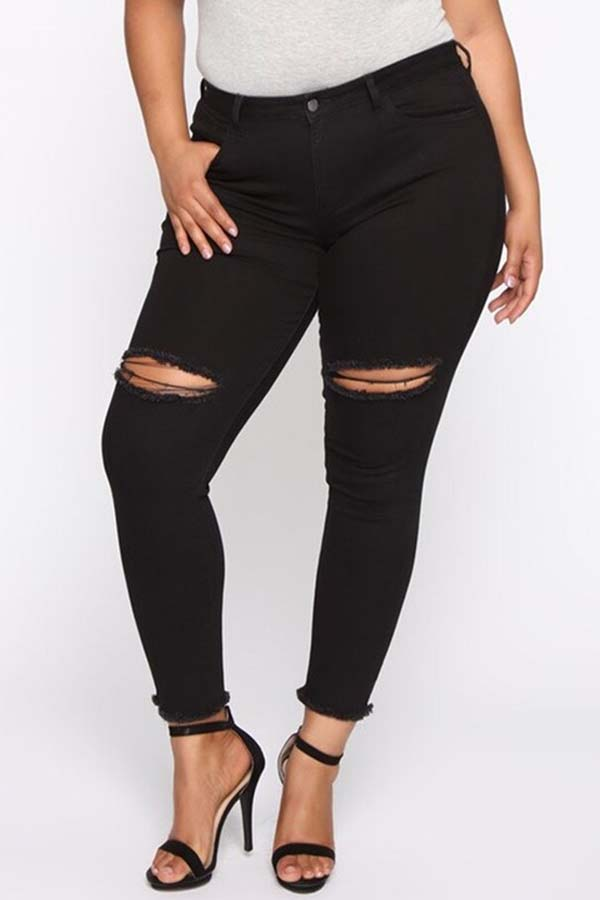 Lovely Stylish Hollow-out Black Plus Size Jeans