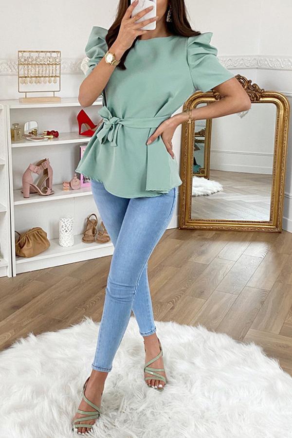 Lovely Trendy O Neck Fold Design Light Green Blouse