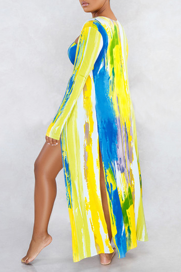 Lovely Tie-dye Multicolor Two-piece Swimsuit(With Cover-Up)