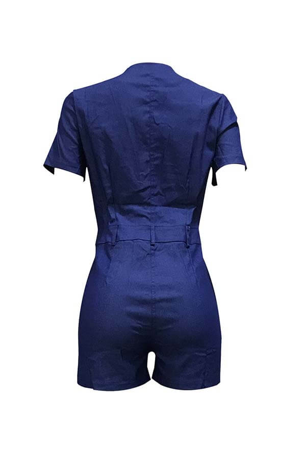 Lovely Trendy Lace-up Blue One-piece Romper