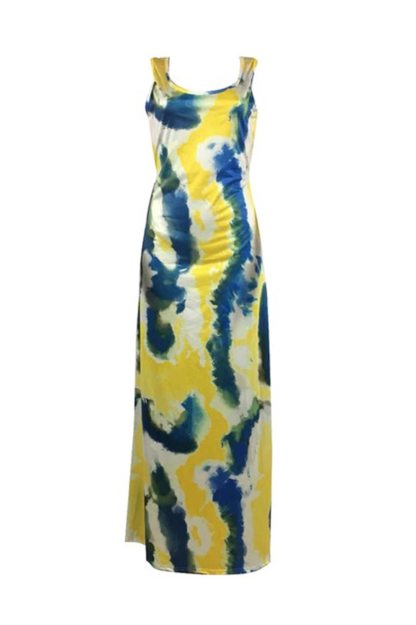 Lovely Casual Tie-dye Multicolor Floor Length Dress(With Elastic)