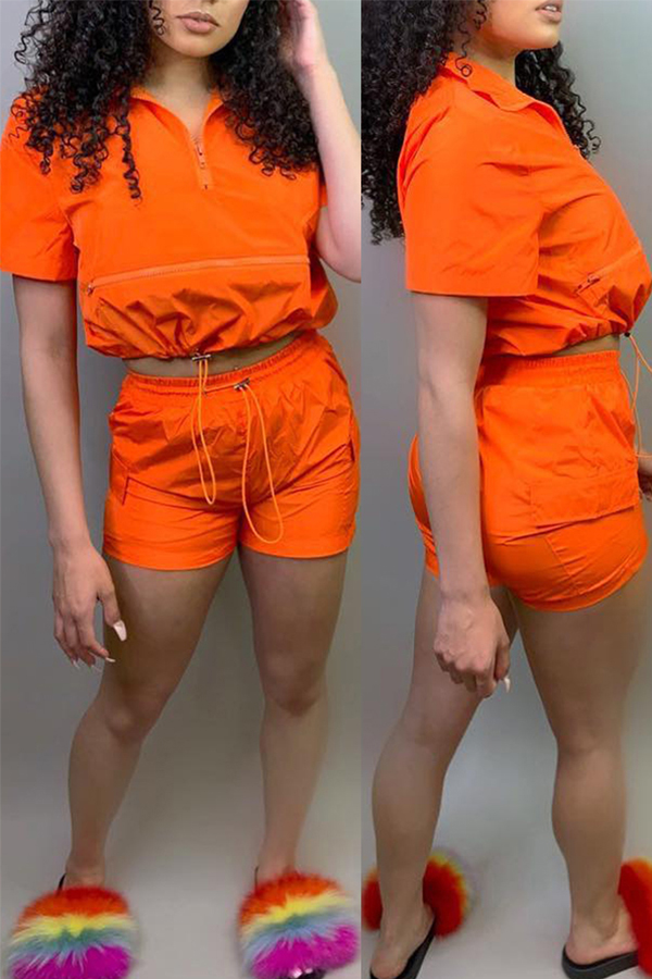 Lovely Leisure Lace-up Croci Two-piece Shorts Set