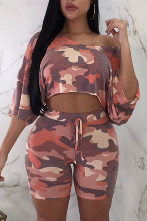 Lovely Leisure Camo Print Pink Two-piece Shorts Set