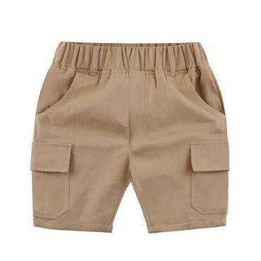 Lovely Casual Pocket Patchwork Khaki Boys Shorts