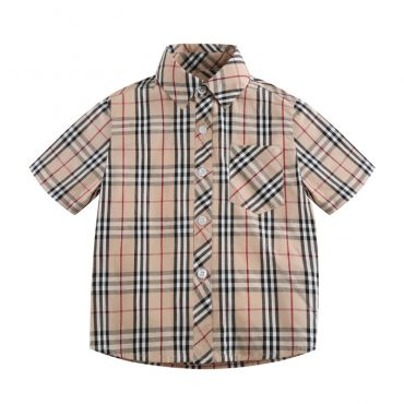Lovely Chic Plaid Print Apricot Boys Shirt