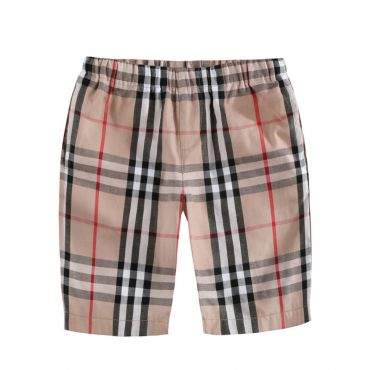 Lovely Casual Plaid Print Apricot Boys Shorts