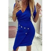 Lovely Work  V Neck Button Blue Mini Dress