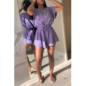 Lovely Casual  Basic Lace-up Purple Two-piece Shor