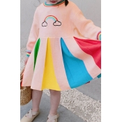 Lovely Sweet Patchwork Multicolor Girl Knee Length