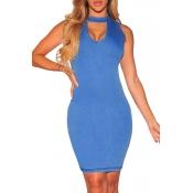 Lovely Casual  Basic Skinny Blue Mini Dress