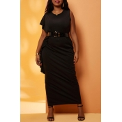 Lovely Casual Flounce Black Ankle Length Plus Size