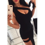Lovely Sexy  One Shoulder Hollow-out Black Ankle L