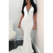 Lovely Sexy  V Neck Hollow-out White Prom Dress