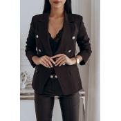 Lovely Work Button Black Blazer