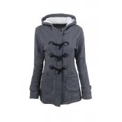Lovely Casual Button Dark Grey Coat