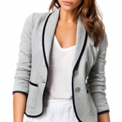 Lovely Casual Button Light Grey Coat