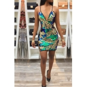 Lovely Party  V Neck Sleeveless Multicolor Mini Dr