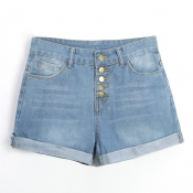 Lovely Casual Button Royal Blue Shorts